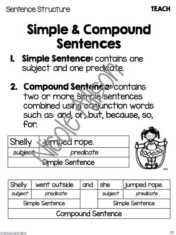 teaching compound sentences  and freebie
