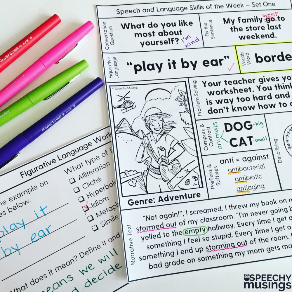 medium resolution of Speech Therapy Printables for Upper Grades: One Page Lessons