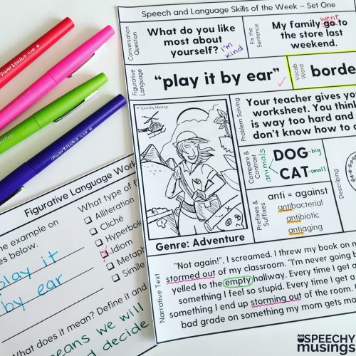 small resolution of Speech Therapy Printables for Upper Grades: One Page Lessons