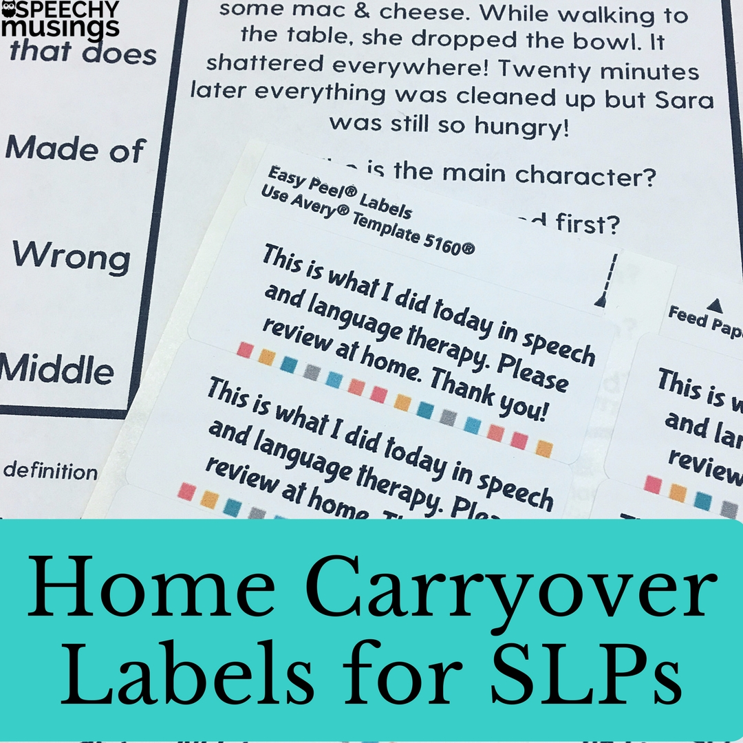 Homework Labels For Speech Therapy Students That Are Easy To Use
