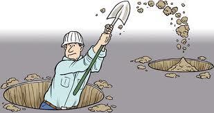 scavare buche per poi riempirle