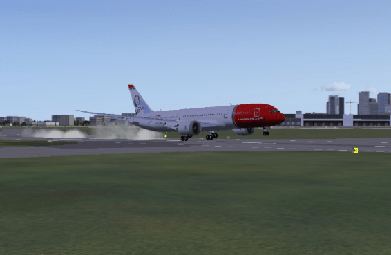 Touchdown on Runway 4R.