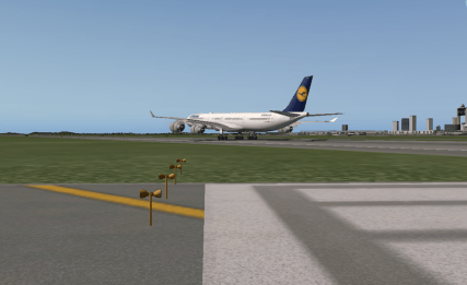 Touching down on Runway 22L.