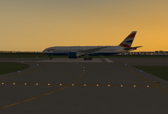 The 777 lining up on Runway 11 for an evening departure.