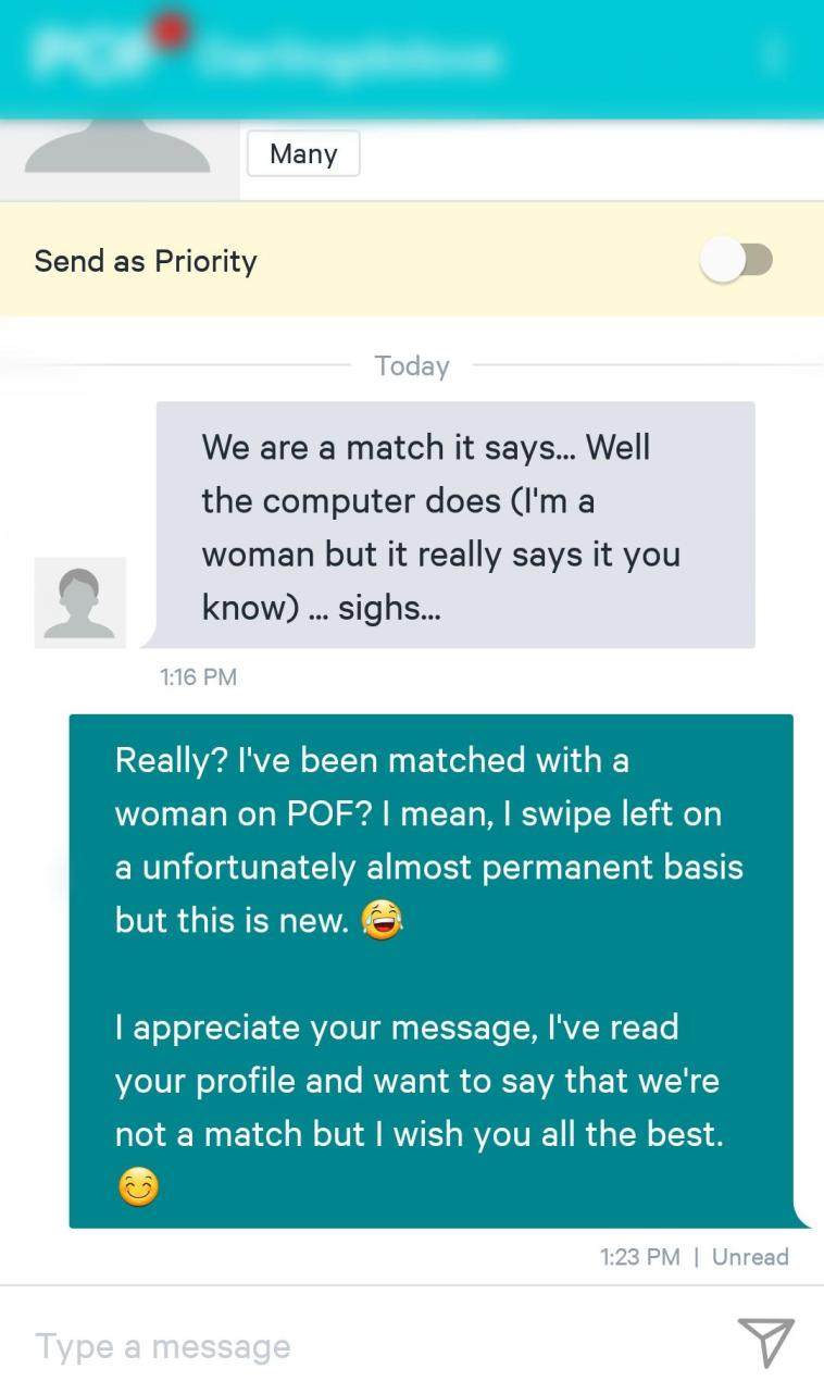 POF : Was tired of POF and hid my profile for a few months