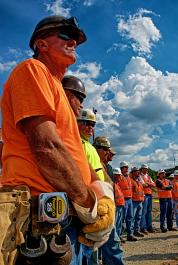 Dean Tharp, President of Ironworkers Local 70 at groundbreaking ceremony for the Louisville, KY downtown bridge project.