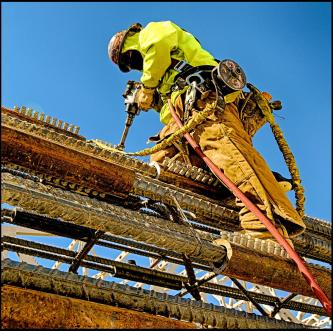 Ironworker working on caisson