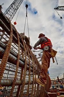 Ironworker Local 70 member Travis tying rebar on a caisson. #2