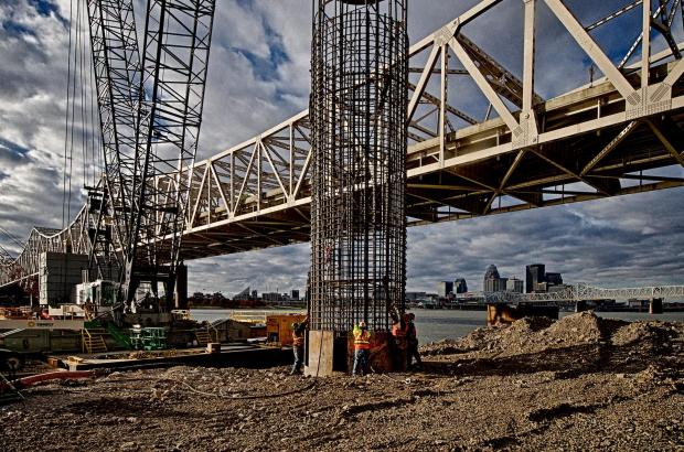 Placing a Caisson in the pier casing on the Indiana approach of the downtown span. #2