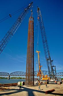 This caisson is 127 feet tall and weighs over 170,000 pounds.