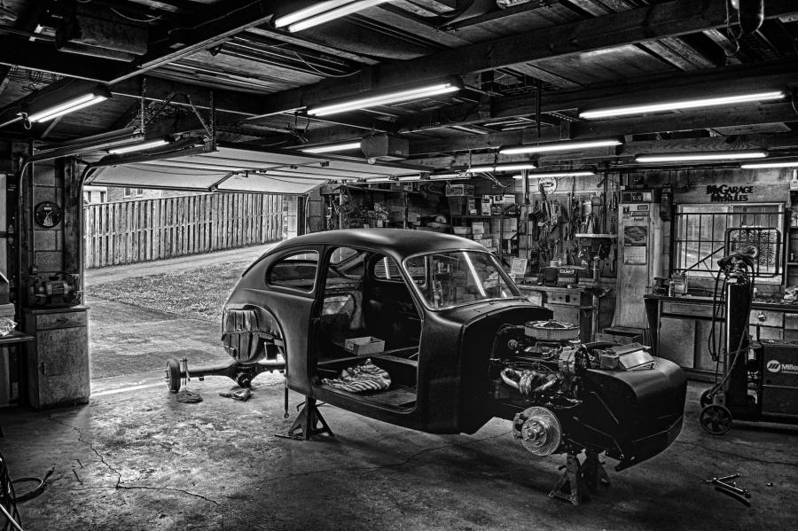 Sam's Garage in Black and White
