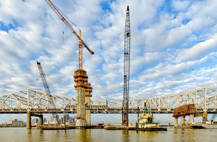 Tower Five during construction of the Ohio River Bridges Project Downtown Span November 2014.