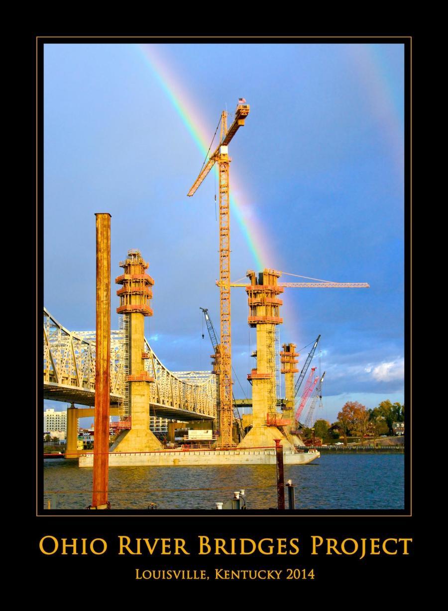 Double Rainbows Over Ohio River Bridges Project, Downtown Span Construction