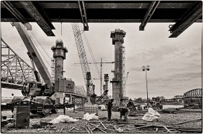 The six towers that will carry the Downtown Span of the Ohio River Bridges Project being built by Walsh Construction. Looking north from the Kentucky approach in Waterfront Park. B&W Version