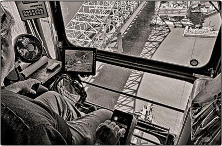 Marcus Jones at work in Tower Crane. B&W Version
