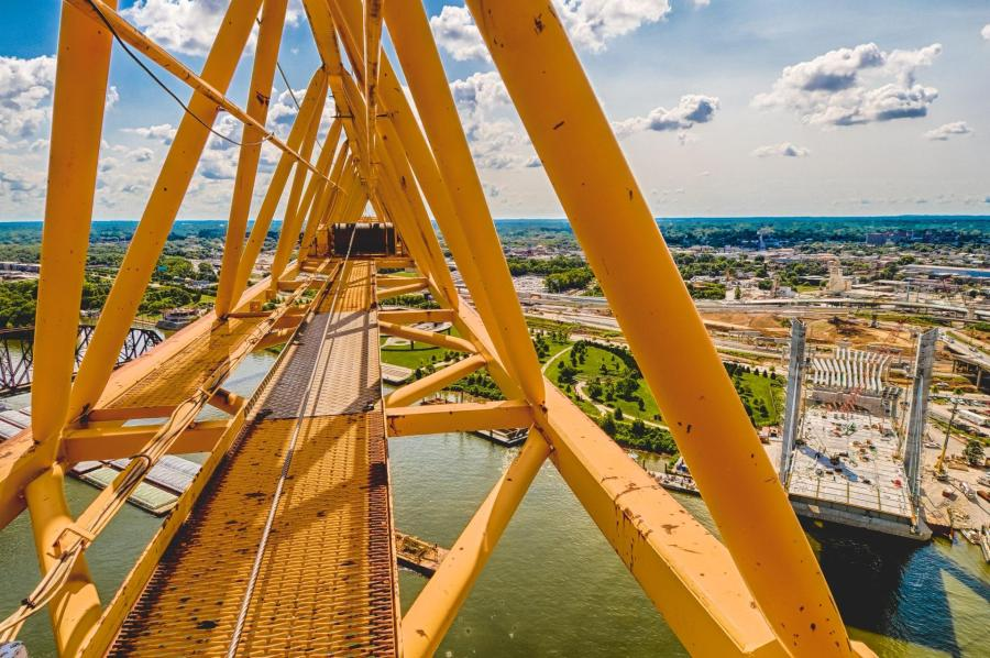 Looking down the boom of the tower crane.