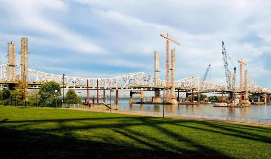 The Ohio River Bridges Project Downtown Span at sunup #2