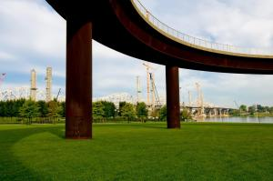 The Ohio River Bridges Project Downtown Span at sunup