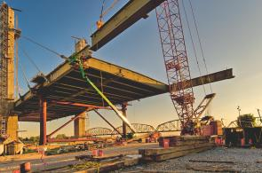 Picking a side girder for the downtown span