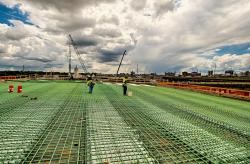 Ironworkers placing rebar on the Kentucky approach.