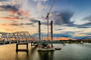 Looking north from the deck of the Downtown Span of the Ohio River Bridges Project.