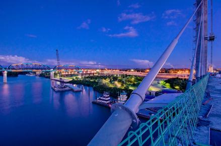 Looking east over Waterfront Park from the Downtown Span at sunset.