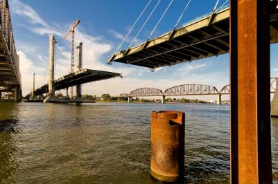 The Downtown Span is nearing completion of the bridge proper.