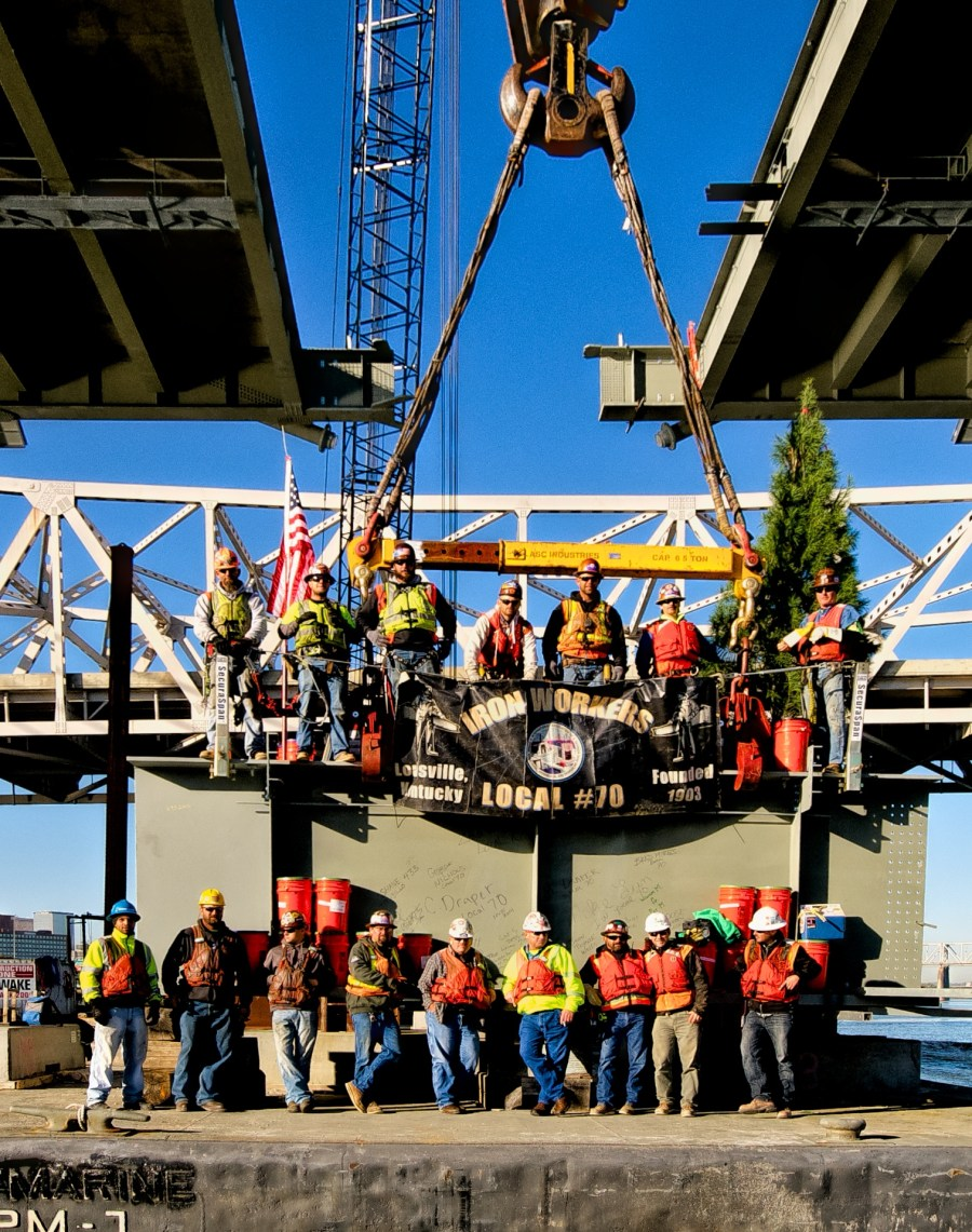 Raising gang on Oct 19, 2015 getting ready to lift final segment into place on the Ohio River Bridges Project.
