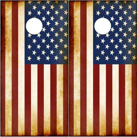 American-Flag-Rustic Cornhole Board Graphics Wrap