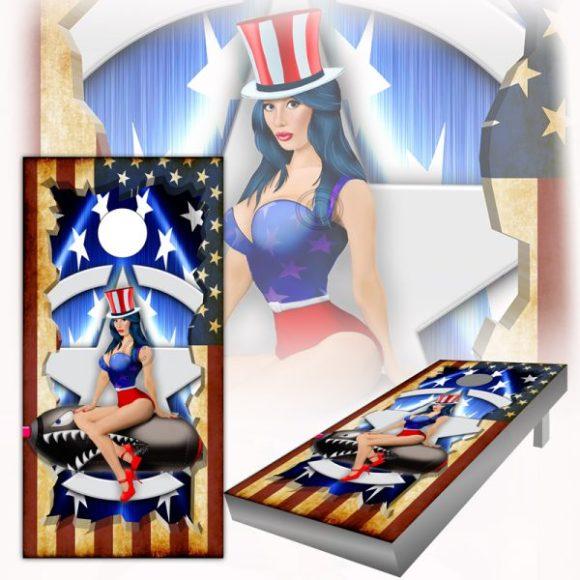 American Flag Pinup Cornhole Board Wrap