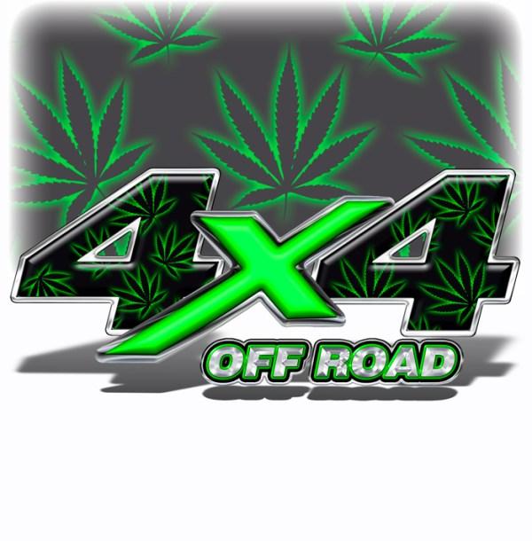 4X4 Decals Marijuana