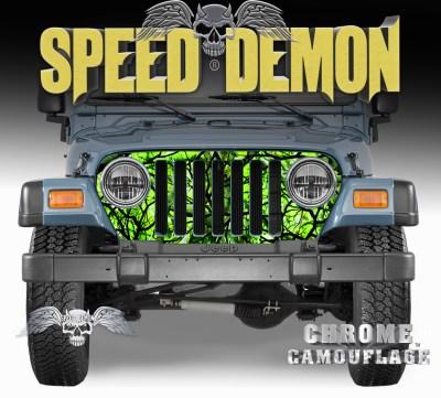 1997-2006 Jeep Grill Wraps Camouflage Wrap Zombie Bile