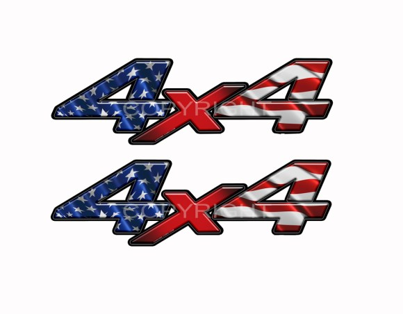 American Flag 4x4 Truck Decal