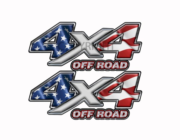 American Flag 4x4 Off Road Decal Silver X