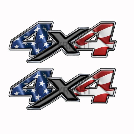 American Flag  4×4-decal Black X