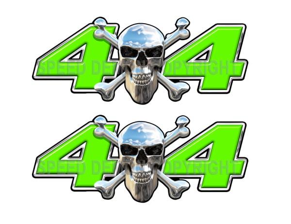 Chrome Skull 4x4 Decals Green