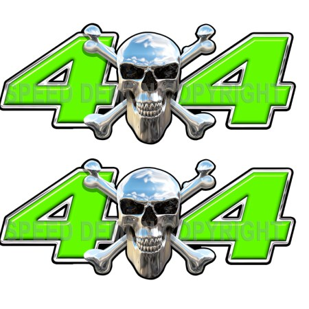 Chrome Skull 4x4 Decals Green