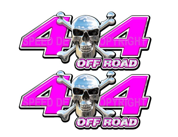 Chrome Skull 4x4 Offroad Decals Pink