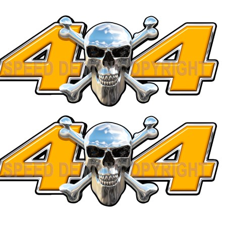 Chrome Skull 4x4 Decals Orange