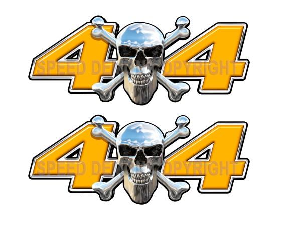 Chrome Skull 4x4 Decals Orange