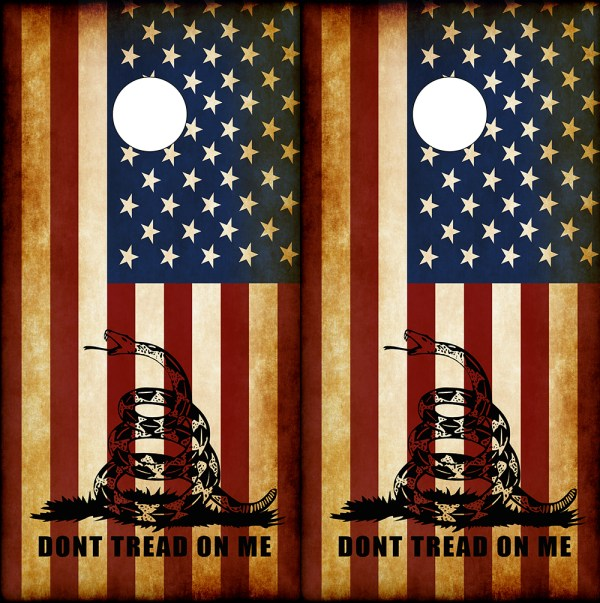 Don't Tread On Me American Flag Corn Hole Board Wraps