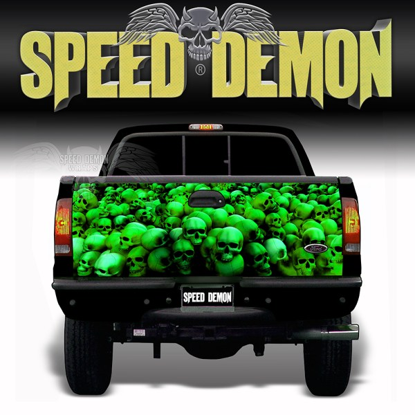 Skull Crusher Tailgate Wraps Green