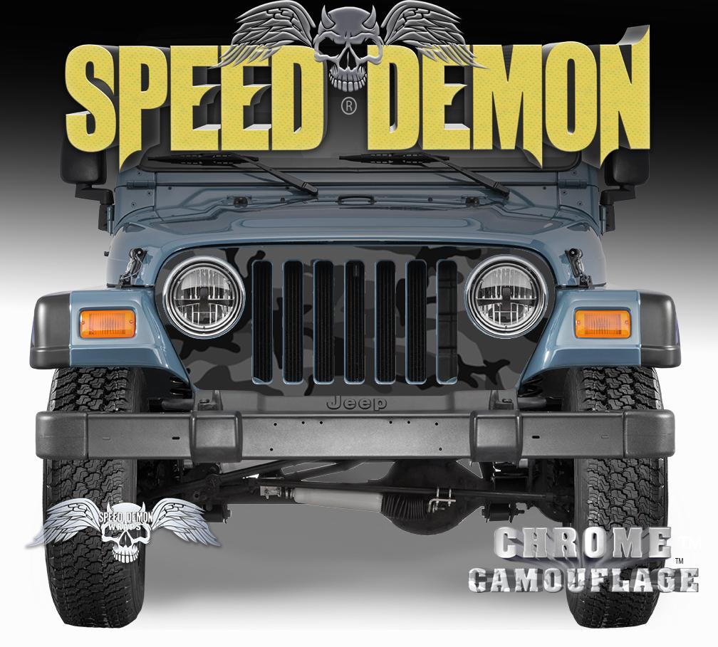 Jeep Grill Wraps Black Urban Camouflage Camo