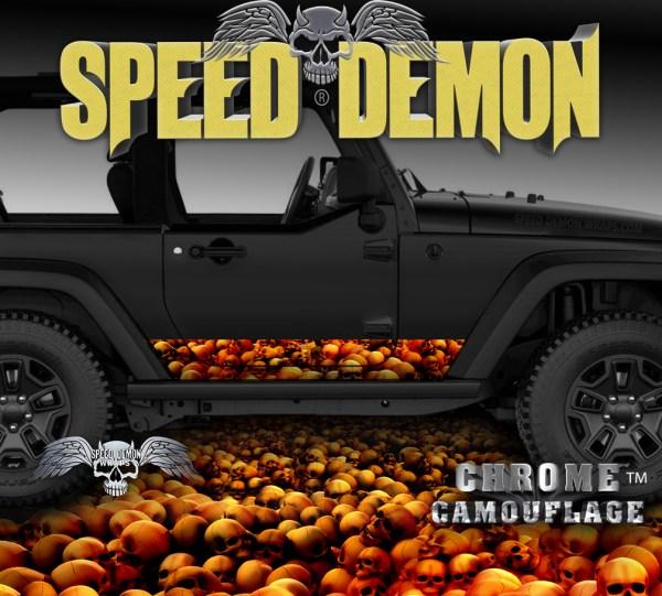 Jeep Wrangler Rocker Wrap SKULL CRUSHER Red