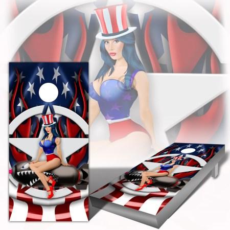 American Flag Pinup Cornhole Board