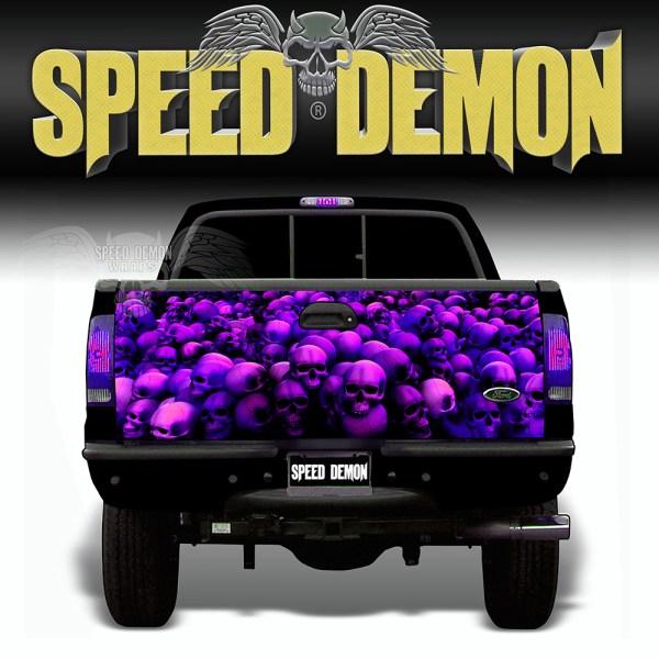 Skull Crusher Tailgate Wraps Purple