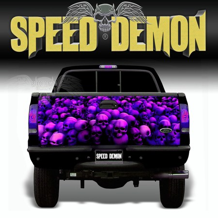 Skull Crusher Tailgate Wraps Purple