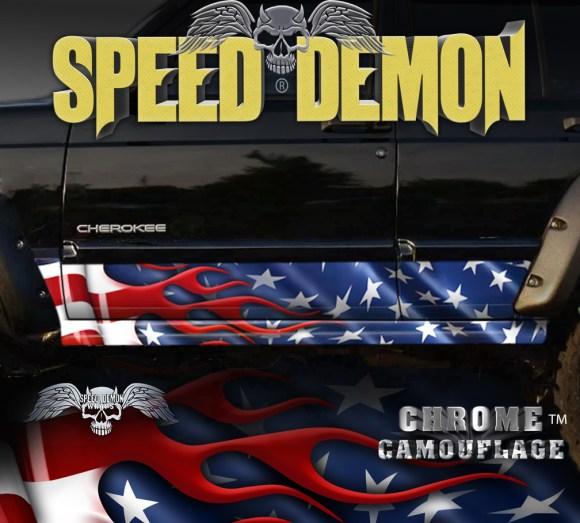 American Flag Jeep Cherokee Rocker Panel Wraps
