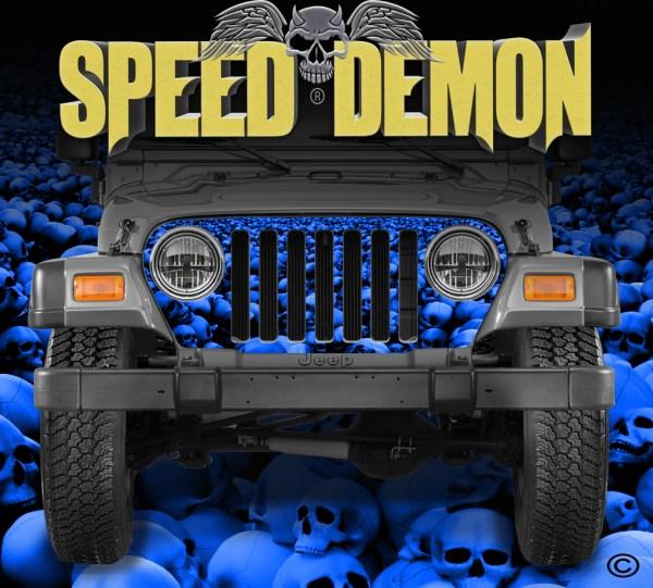 Jeep-Wrangler-Grill-Wraps-Skulls-Skull-Crusher-Camouflage-1997-2006-TJ-Blue