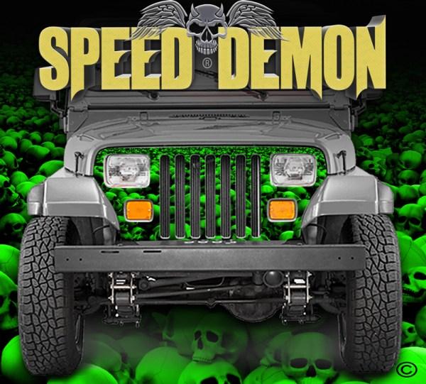 Jeep Grill Wraps Skulls Green